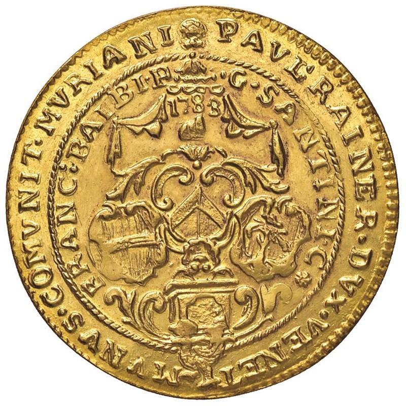 MURANO. PAOLO RENIER CXIX DOGE (1779-1789) OSELLA D'ORO DA 4 ZECCHINI 1783