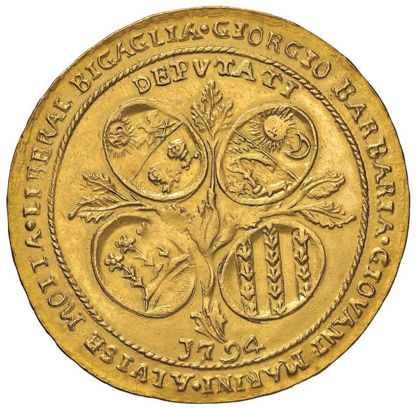 MURANO. LODOVICO MANIN CXX DOGE (1789-1797) OSELLA D'ORO DA 4 ZECCHINI 1794