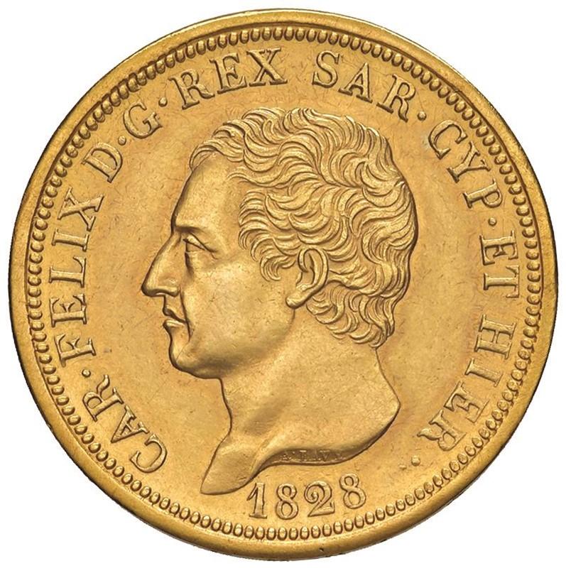 SAVOIA. CARLO FELICE (1821-1831) 80 LIRE 1828 Torino (P in ovale e aquila)