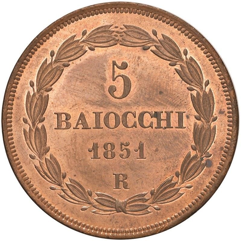STATO PONTIFICIO. PIO IX (1846-1870) 5 BAIOCCHI 1851
