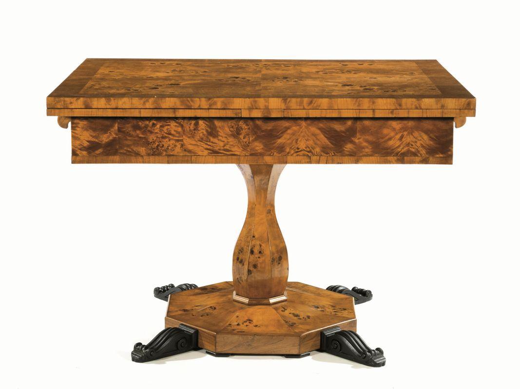 Tavolo da pranzo in stile biedermeier in radica di tuja piano rettangolare allungabile fusto - Mobili biedermeier ...