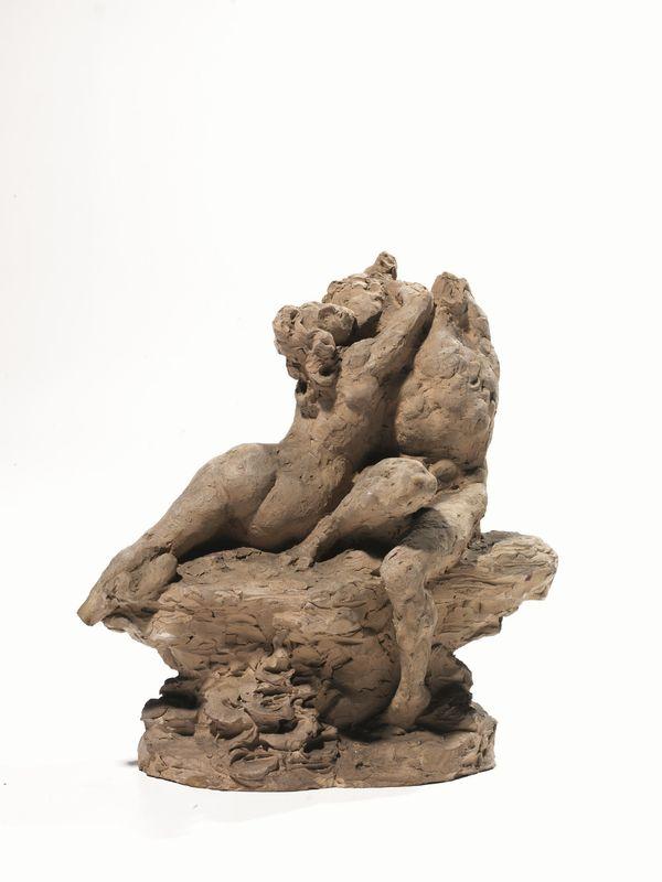 Eugenio Maccagnani (Lecce 1852 - Roma 1930) AMANTI terracotta, alt ...