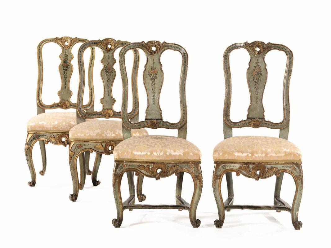 Tre sedie, Veneto, metà sec. XVIII, in legno intagliato e dipinto ...