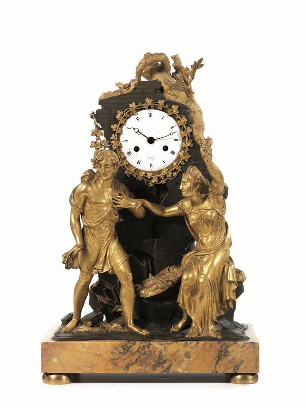 Orologio da tavolo in bronzo e bronzo dorato quadrante in smalto bianco con numeri romani - Orologi antichi da tavolo ...