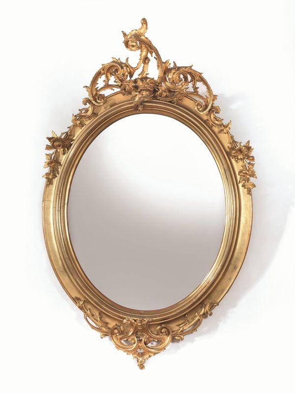 Specchiera fine sec xix in legno intagliato e dorato - Specchio antico ovale ...