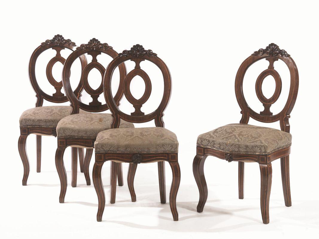 Quattro sedie fine sec. xix in palissandro intarsiato in bois de