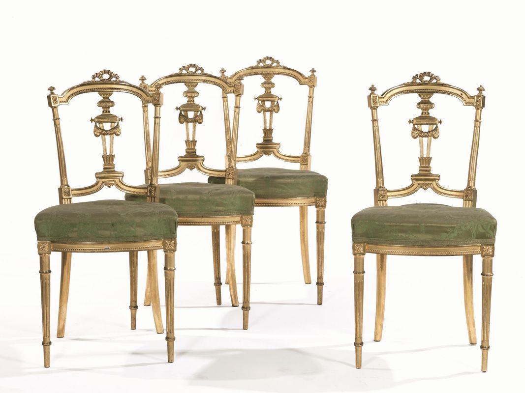 Quattro sedie, in stile Luigi XVI, fine sec. XIX, in legno ...