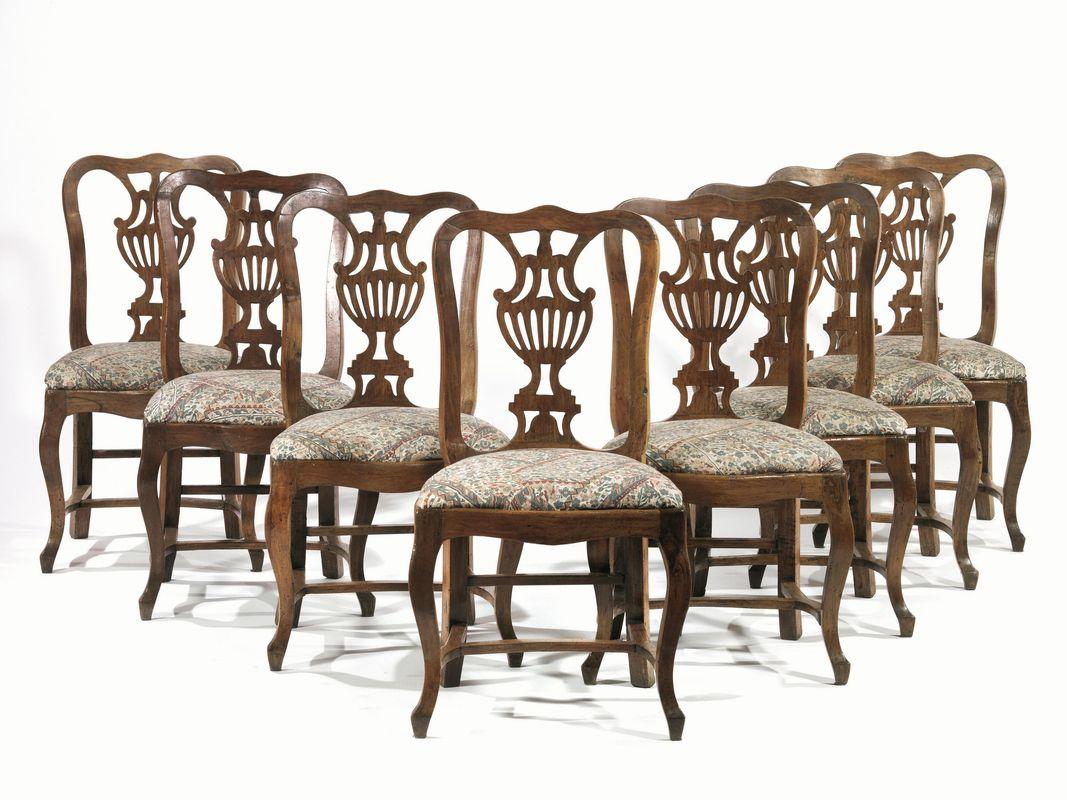 Otto sedie toscana fine secolo xviii asta mobili ed for Asta mobili antichi