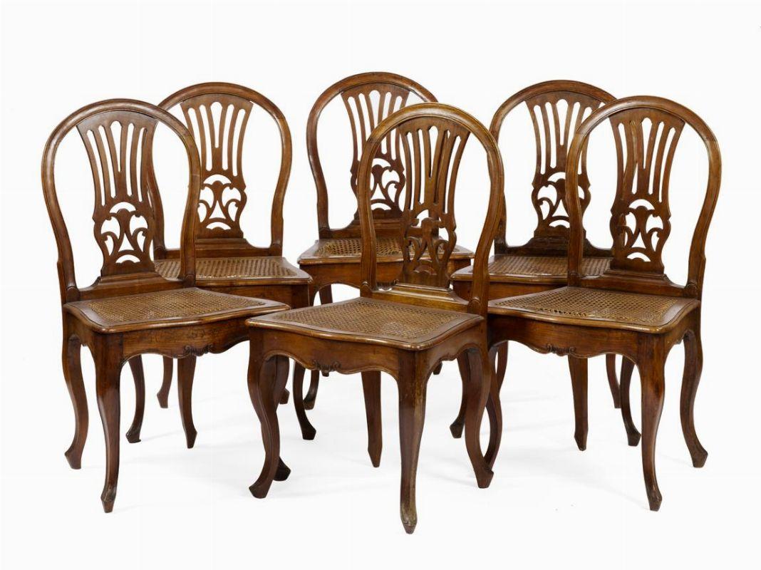 Sei sedie veneto mobili ed oggetti d 39 arte asta for Sedie importanti