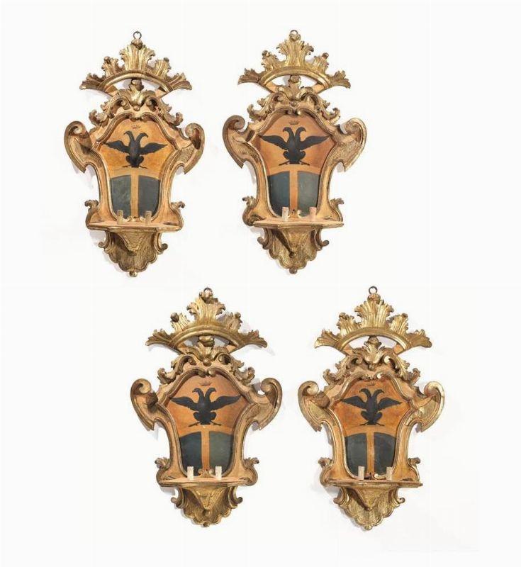 Quattro grandi appliques toscana periodo luigi xiv for Mobili luigi