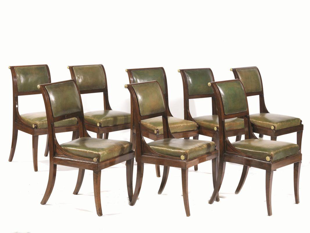 Otto sedie lucca prima met secolo xix mobili ed for Sedie importanti