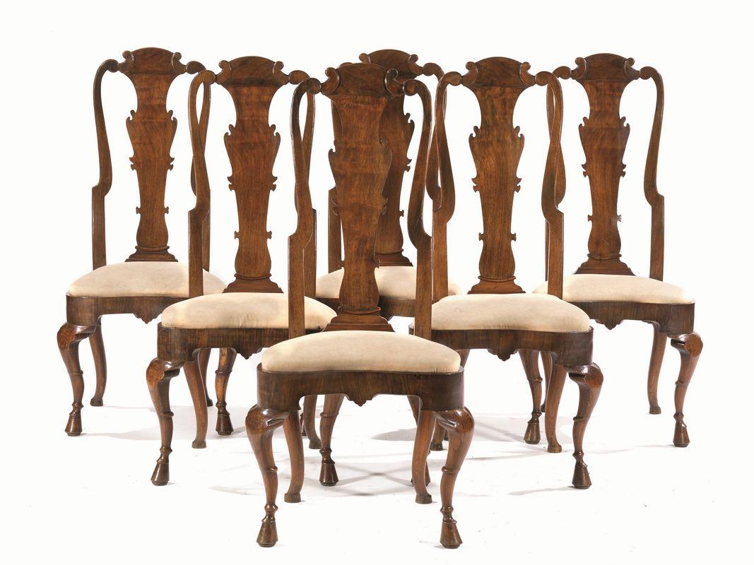 Sei sedie inghilterra seconda met secolo xviii mobili for Sedie importanti