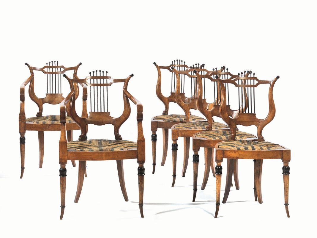 Quattro sedie e due poltroncine toscana inizi secolo xix for Sedie importanti