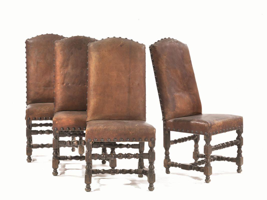 Quattro sedie italia settentrionale secolo xvii mobili for Sedie importanti